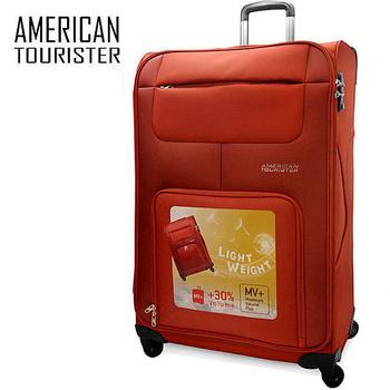 ★結帳現折★American Tourister MV+羽毛輕量24吋超大容量布面行李箱(橘)