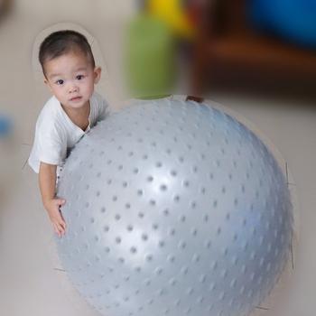 《Sport-gym》100%防爆顆粒按摩球 統合感覺觸覺球/韻律球/團體活動球  安全不爆裂(75cm防爆顆粒球-銀色)