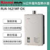 《林內》 RUA-1621WF-DX 水量伺服16L數位恆溫強制排氣熱水器(液化瓦斯)