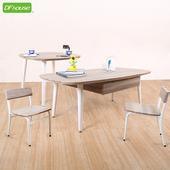 《DFhouse》羅浮宮雙抽大茶几+小茶几+小型低背椅x2 *立體浮雕PVC表面*(地中海配色)