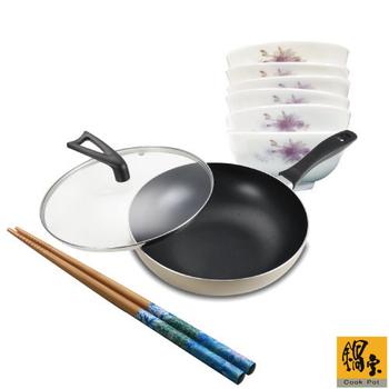 《鍋寶》香檳金炒鍋+瓷碗6入組(送印花竹筷-綠)(EO-NS828LISBFW45RG1G)