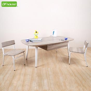 DFhouse 羅浮宮雙抽大茶几+小型低背椅x2 *立體浮雕PVC表面*(地中海配色)