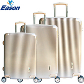 《YC Eason》簡約時尚三件組可加大海關鎖款PC行李箱(玫瑰金)