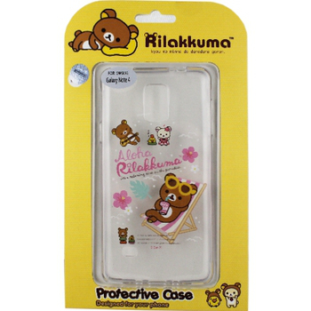 Rilakkuma 拉拉熊/懶懶熊 Samsung Galaxy Note 4 彩繪透明保護軟套-Fun Fun熊