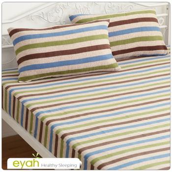 eyah 流行線條。珍珠搖粒絨單人床包枕套二件組