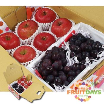 《鮮果日誌》甜蜜禮讚葡萄禮盒(日本蜜蘋果6入+葡萄2.5台斤)