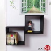 《LOGIS》黑白魔術口格子壁櫃-正方形兩入組(黑正格2入)