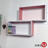 《LOGIS》粉彩魔術格子壁櫃-長方形兩入組(粉紅色2入)