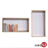 《LOGIS》木紋魔術格子壁櫃-長方形兩入組(白橡色2入)