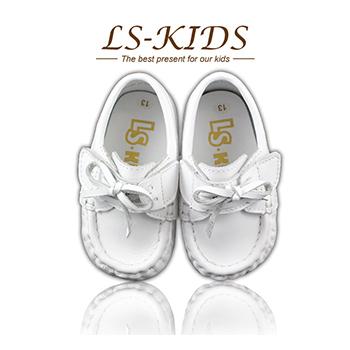 LS-KIDS 手工精緻學步鞋-寶寶雷根鞋系列-牛奶白(14號)