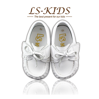 LS-KIDS 手工精緻學步鞋-寶寶雷根鞋系列-牛奶白(13號)