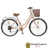 《StepDragon》26吋櫻花復古單速淑女車(香檳金)