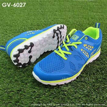 GIOVANNI VALENTINO 時尚撞色紋路鏤空面拼接男慢跑鞋運動鞋GV-6027(藍綠27)
