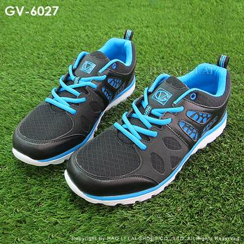 GIOVANNI VALENTINO 時尚撞色紋路鏤空面拼接男慢跑鞋運動鞋GV-6027(黑藍27)