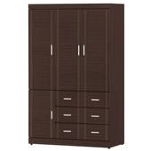 《時尚屋》G15 花線胡桃色4x7尺衣櫃100-4