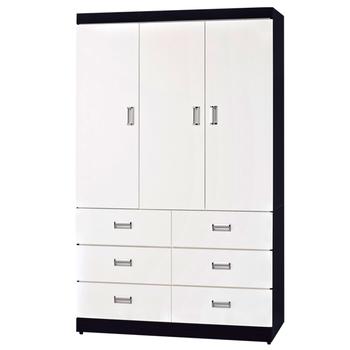 《時尚屋》G15 黑白配4x7尺衣櫃096-2