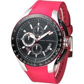 《A│X Armani Exchange》重機型男計時運動錶-橡膠紅(AX1409)