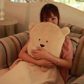 《Bunny》多功能四合一抱枕靠墊保暖毯-方熊 (三色可選)(棕色)