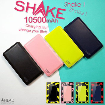 AHEAD領導者 SHAKE搖搖 10500mAh 行動電源 日系 三洋電芯 適用 Samsung HTC SONY APPLE 等手機 移動電源(黑色)
