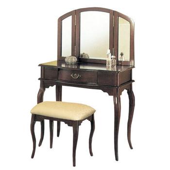 《Asllie》拱型化妝桌椅組(咖啡)