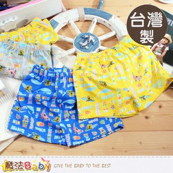 魔法Baby 男童內褲 台灣製造海綿寶寶男童平口內褲(4件組) ~k38965(L)