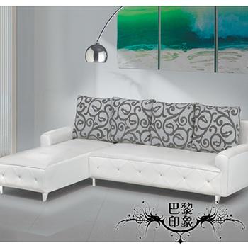 巴黎印象 歐式拉斐爾L型獨立筒鱷魚皮紋沙發(晶鑽白)