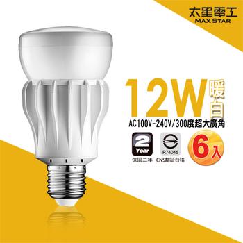 《太星電工》大廣角LED燈泡12W(6入)(A512L*6-暖白光)
