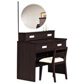 《時尚屋》G15 凱特胡桃2.7鏡台049-3(含椅子)