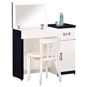 《時尚屋》G15 黑白配2.9尺可掀式鏡台035-4(含椅子)
