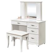 《時尚屋》G15 安東尼烤白色化妝台027-4(含椅子)
