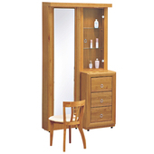 《時尚屋》G15 正赤陽木3尺旋轉鏡台061-7(含椅子)