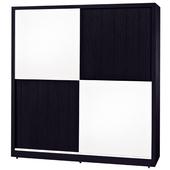 《時尚屋》G15 黑白配6尺推門衣櫃035-5