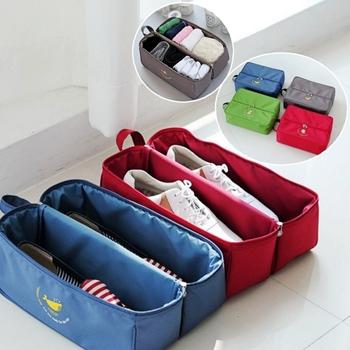 《Bunny》韓款一加一多功能手提防水內衣鞋子收納袋(二入)(綠色)