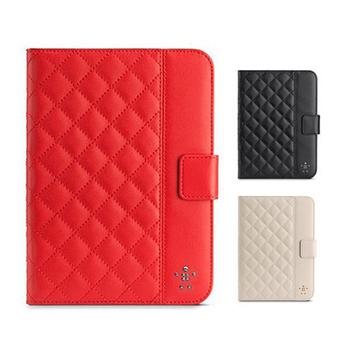 Belkin iPad mini/mini2/mini3 全包覆方格菱紋保護套 贈保護貼(紅色)