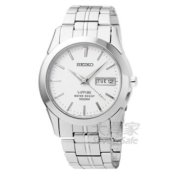 SEIKO SEIKO精工藍寶石水晶玻璃時尚男錶-白 # SGG713P1