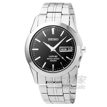 SEIKO SEIKO精工藍寶石水晶玻璃時尚男錶-黑 # SGG715P1