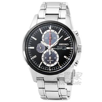 SEIKO SEIKO精工大錶徑光動能三眼鬧鈴計時錶-IP黑框 / SSC087P1