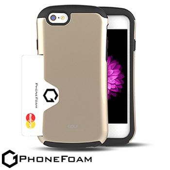 PhoneFoam Golf iPhone 6 插卡式防震保護殼 送iPhone6 (4.7吋) HC高清超透螢幕保護貼(金色)