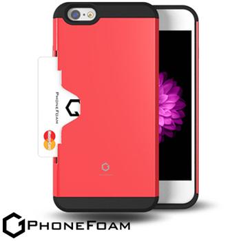 PhoneFoam Golf Fit iPhone 6 插卡式防震保護殼 送iPhone6 (4.7吋) HC高清超透螢幕保護貼(紅色)