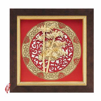 鹿港窯 立體金箔畫-節節高昇(圓形窗花系列20.5x20.5cm)