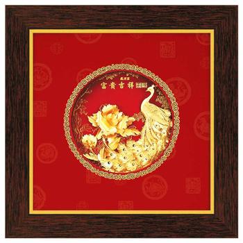 鹿港窯 立體金箔畫-富貴吉祥(圓形系列21x21cm)