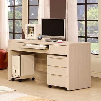 ★結帳現折★Homelike 愛麗絲4.5尺電腦桌-附主機架+三抽活動櫃