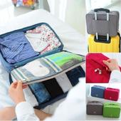 《Bunny》手提多隔層衣物防水行李箱收納袋(L 號)(藍色)