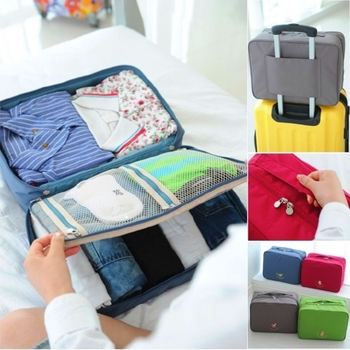 Bunny 手提多隔層衣物防水行李箱收納袋(L 號)(藍色)