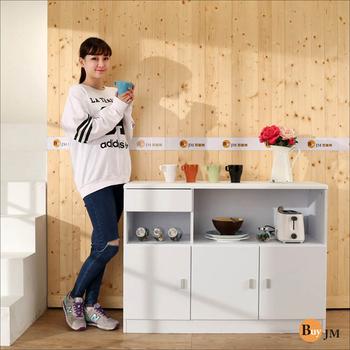 《BuYJM》鏡面防潑水三門一抽廚房櫃/餐櫃/收納櫃(白色)