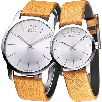 ck City 雅爵極簡品味風時尚對錶-橙黃(K2G21138/K2G23120)