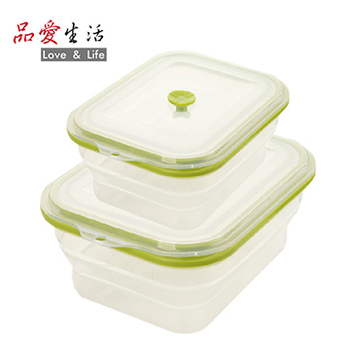 品愛生活 矽膠摺疊保鮮盒兩件組(長1500ml+長600ml)