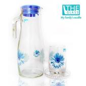 《THE GLASS》優質小藍花玻璃水杯禮盒(TG-GCN30AI)