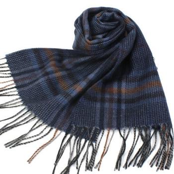 《S.T.Dupont》羊駝毛混紗典雅格紋圍巾(藍色)