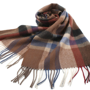 《S.T.Dupont》羊駝毛混紗時尚格紋圍巾(咖啡)